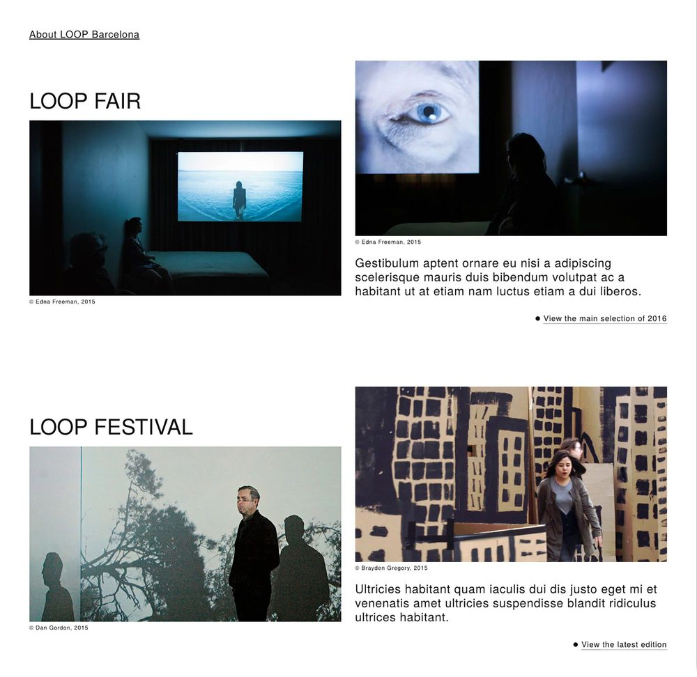 LOOP Barcelona (art direction, art & culture, website), by DOMO-A | Art direction & graphic design, Barcelona